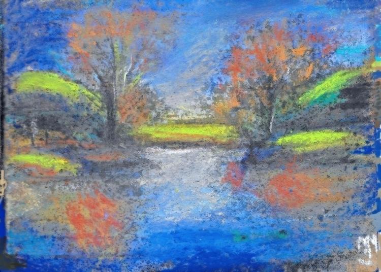 Gator river, Pastel , 4.5x 6.5 - clan_morrison_art | ello