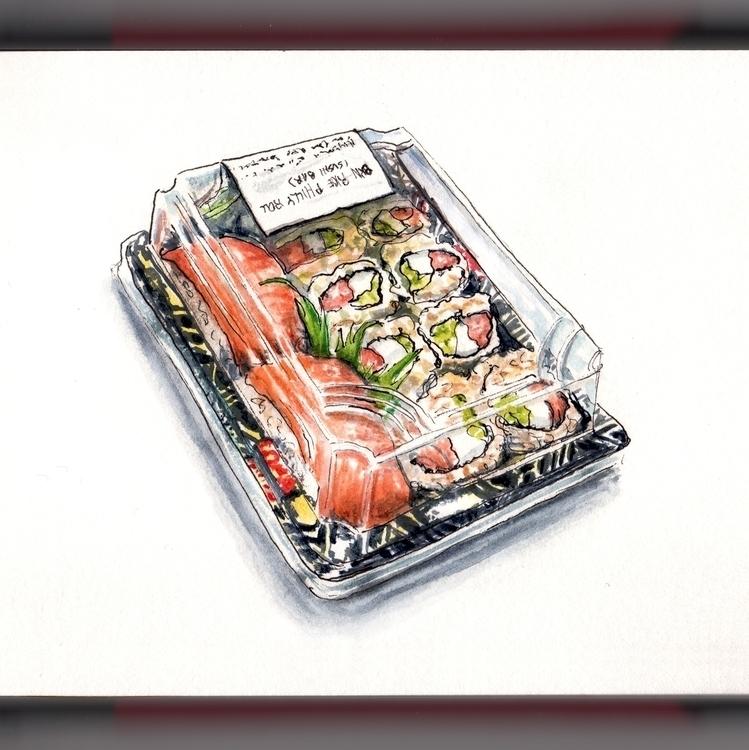 Reflections Sushi - watercolor, watercolour - doodlewash   ello
