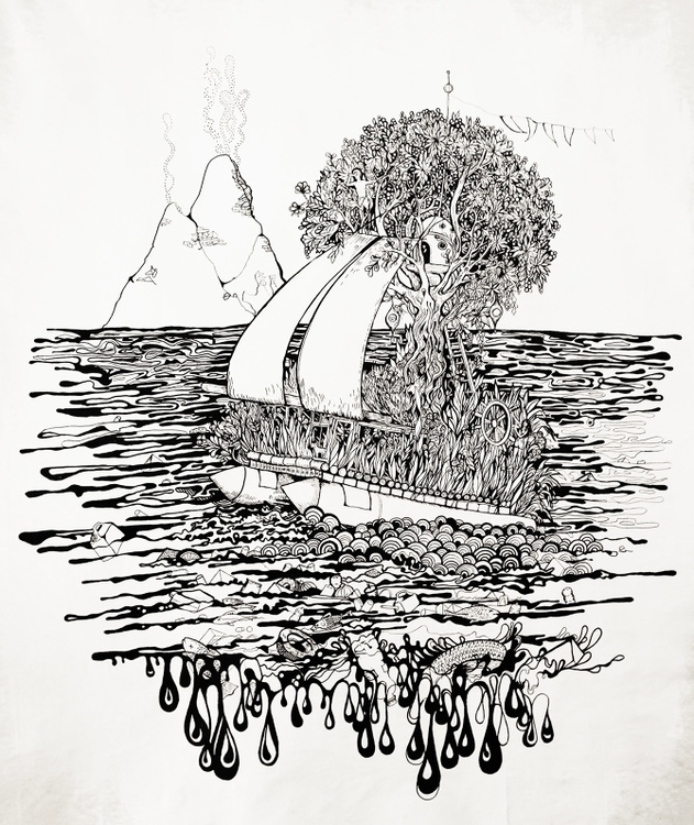 Refuge // acrylic + ink canvas  - nevaferleza | ello