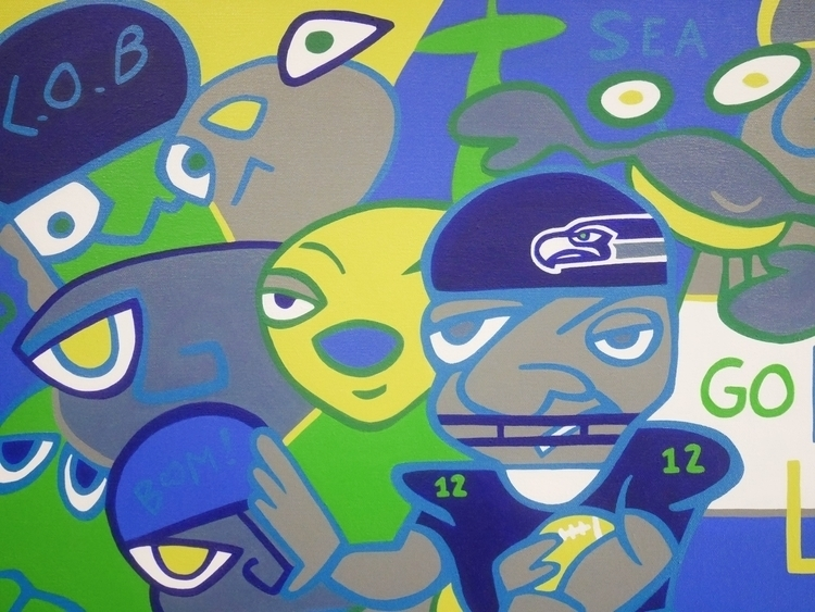 seattle, pnw, football, painting - j0eg | ello