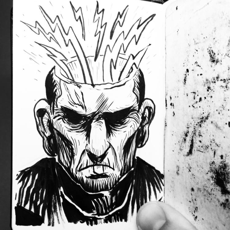 Electric Head - frankenstein, ink - royallyeric | ello