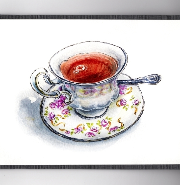 Spot Tea - watercolor, watercolour - doodlewash | ello