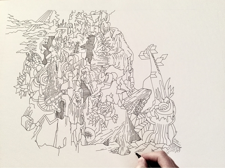 drawing progress - art, pen, technicaldrawing - brianjohnsonart | ello