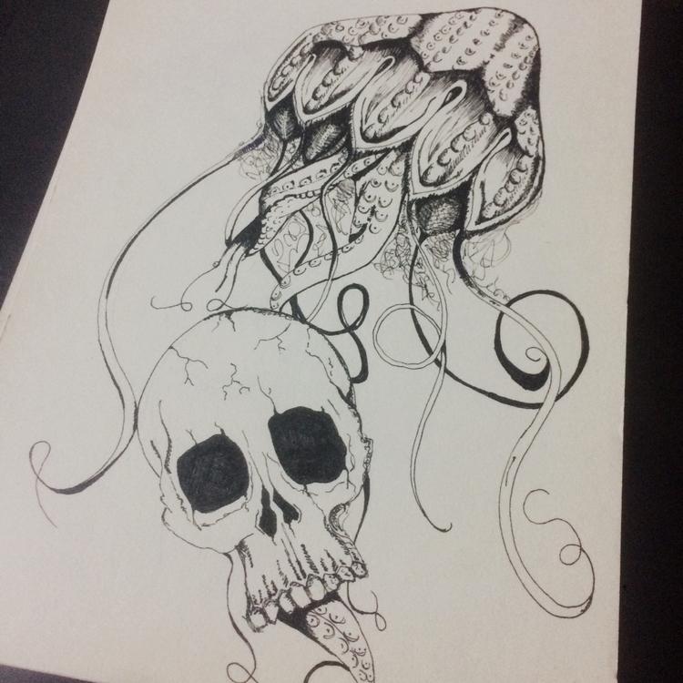 skull, jellyfish, sketch, draw - limpedhiel   ello