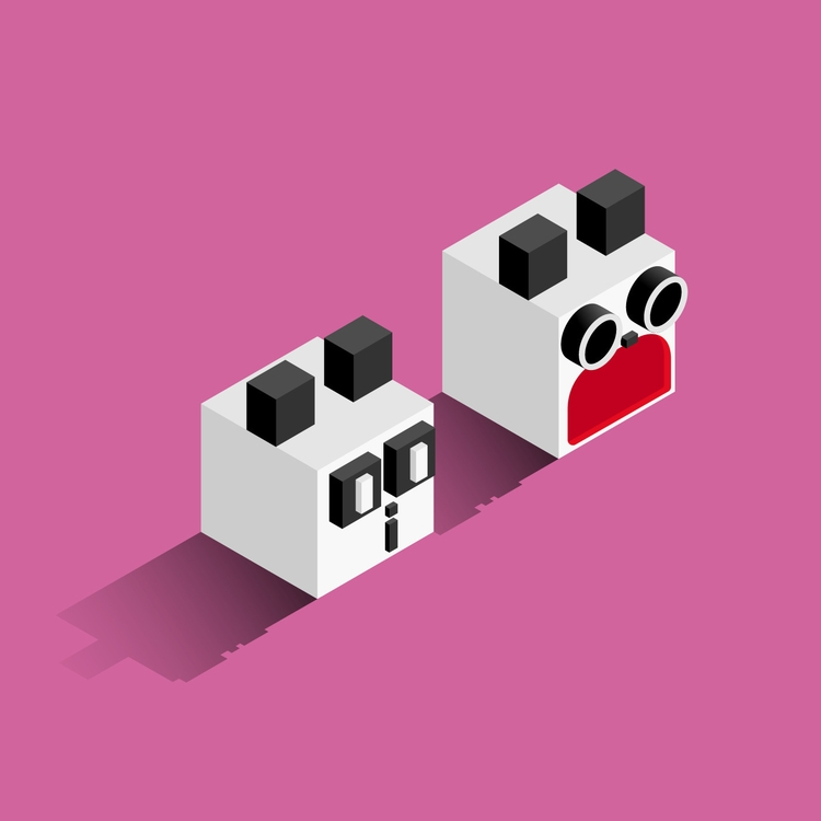 Happy Friday! panda - vector, isometric - jennyilee | ello