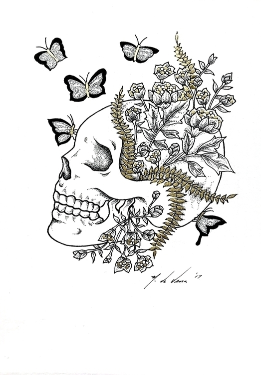 SOLD - Skull Flowers de Vena - alexierasketchsaturdays - alexiera | ello