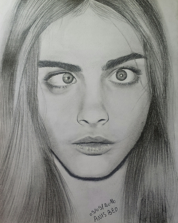 Cara delevingne pencil drawing - anis__beo | ello