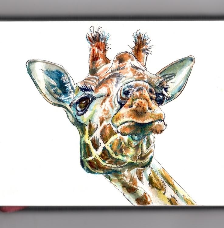 Funny Giraffe Face - watercolor - doodlewash | ello