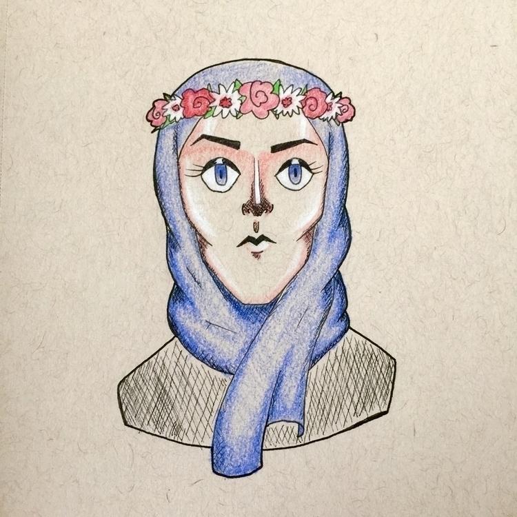 Flower Kween - drawing, doodle, ink - akmarian | ello