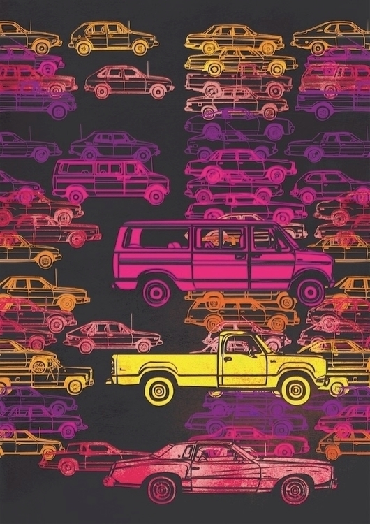 Traffic 'Pileup' illustration - jamesenjoyrelax | ello