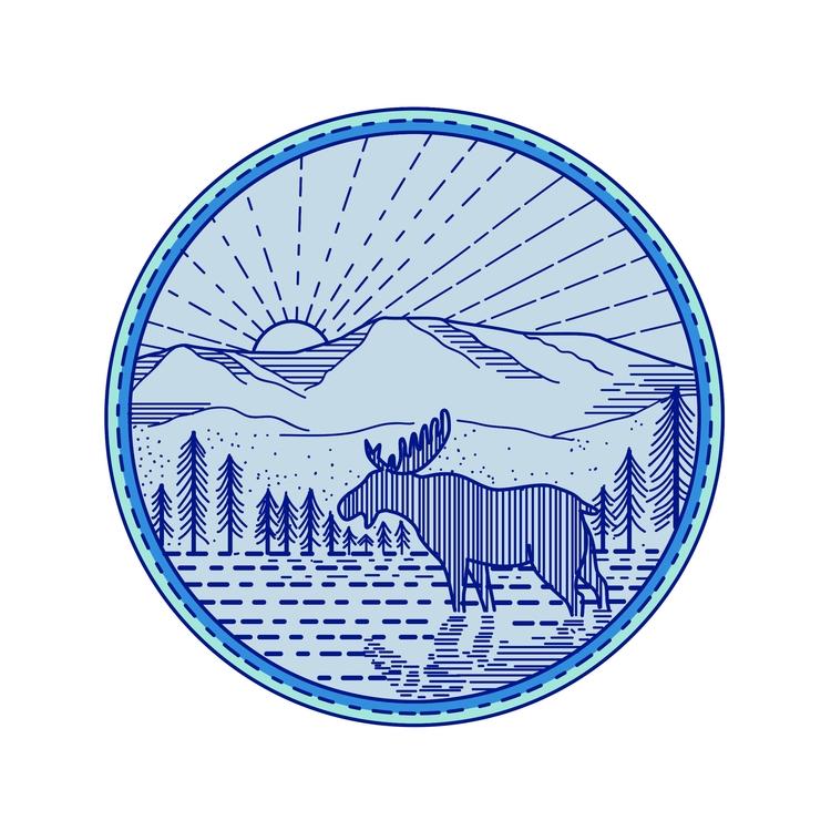 Flat Circle Mono Line - Moose, River - patrimonio | ello