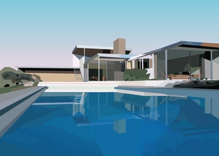 Kaufmann Desert House 2 - illustration - sophieillustration | ello