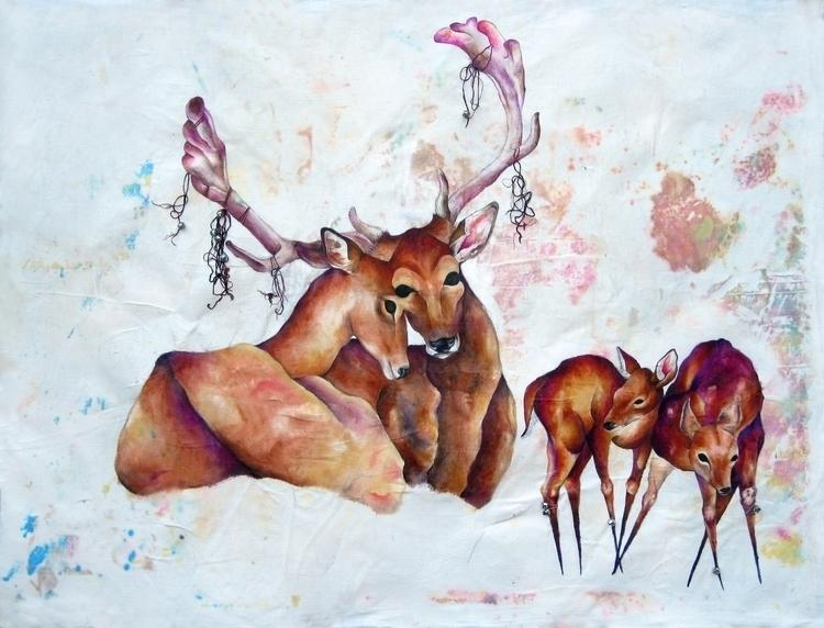 Wander acrylic, gouache, thread - hannahward | ello