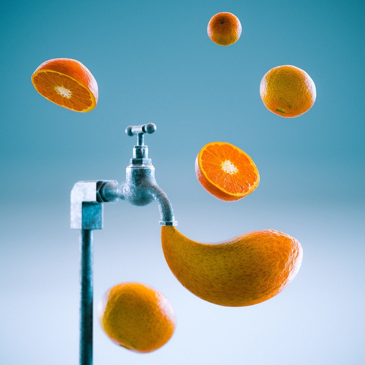 3d, cinema4d, render, dream, tangerine - themandesigns | ello