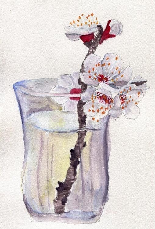 Cherry Cocktail Watercolor Goua - havekat | ello