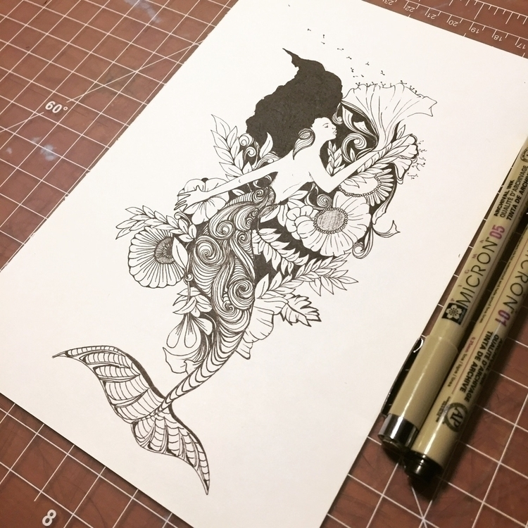 Drew mermaid co workers today - art - leafmakers1 | ello