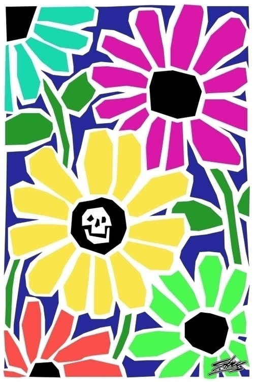 art, flowers, skull, pesticide - stormchild | ello