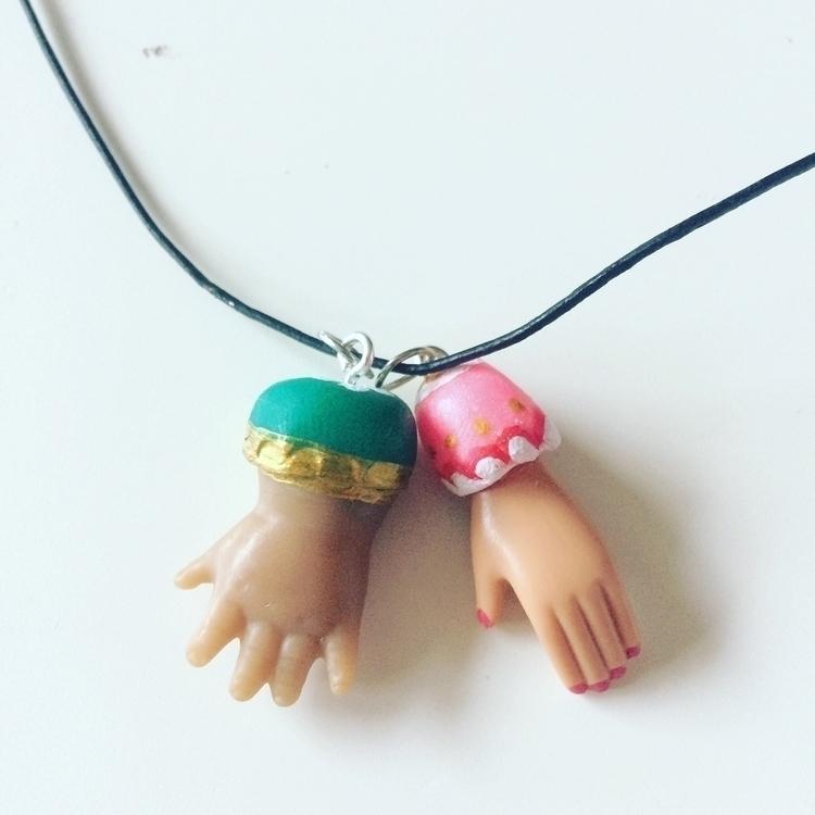 hands fimo clay necklace - hand - skeenep | ello