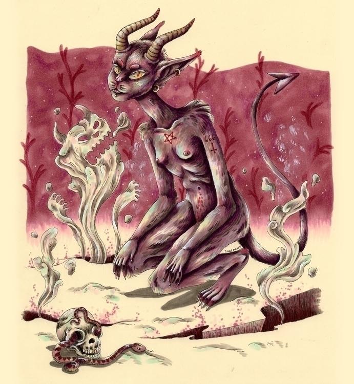 evil, devil, satan, satanic, skull - skeenep | ello