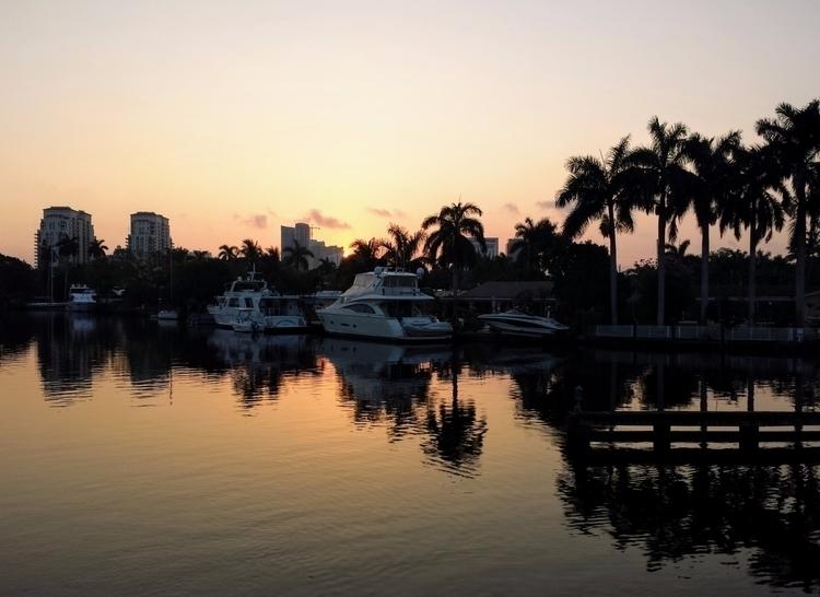 Sunrise Swing Bridge River, For - wabi__sabi | ello