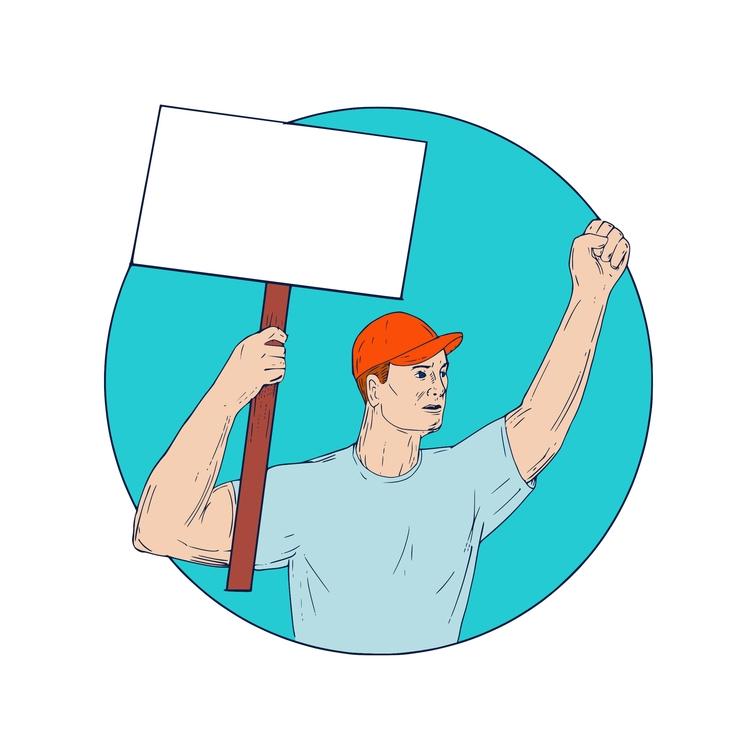 Union Protesting Fist Circle - Worker - patrimonio | ello