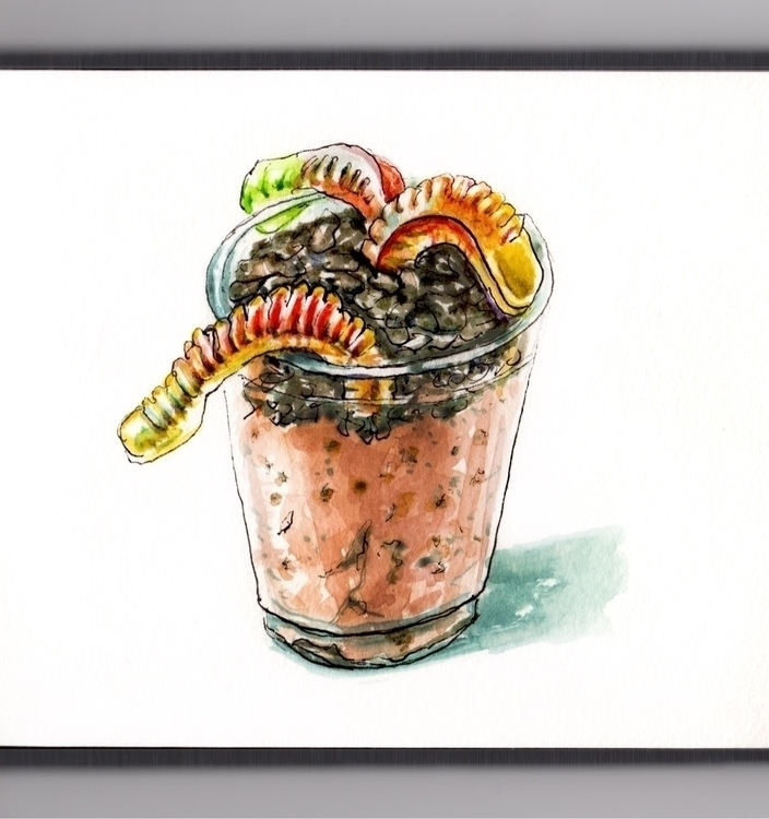Eating Dirt Worms - watercolor, watercolour - doodlewash | ello