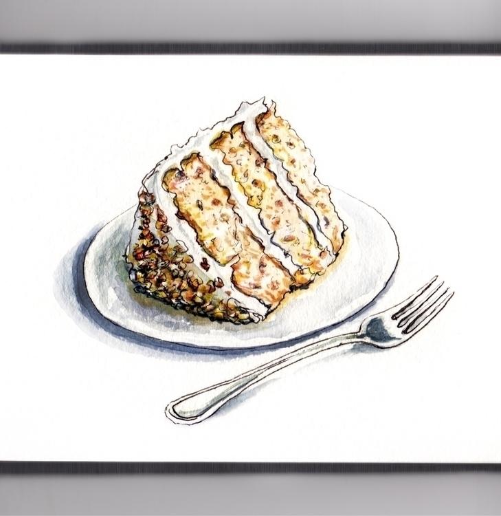 Hummingbird Cake - watercolor, watercolour - doodlewash | ello