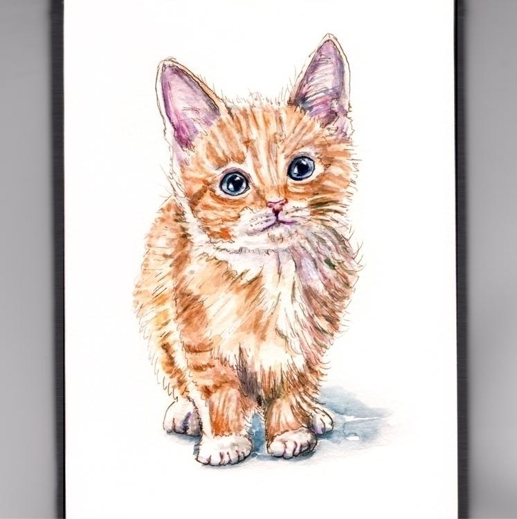 Kitten Break - watercolor, watercolour - doodlewash | ello
