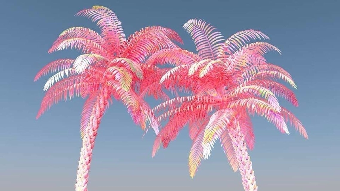 Pink Palms - c4d#cgi#render#pink#colourful#vaporwave#digitalart#art#design#3d#3dart - bambi_kirschner | ello