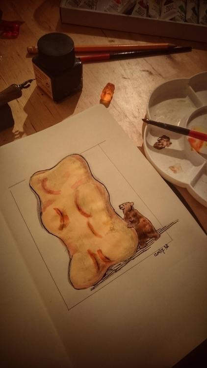 Gummybears - sketch, moleskine, watercolor - nilsvanrooijen | ello