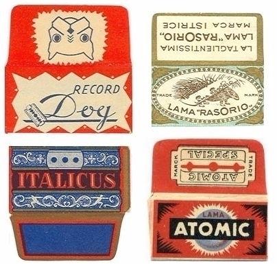 vintage razor blade wrappers.  - p-e-a-c | ello