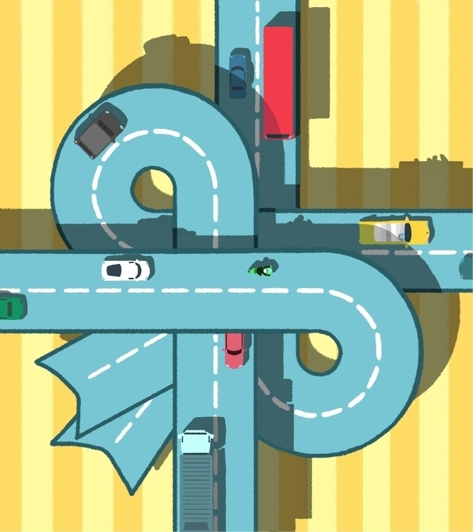 Ribbon Road - illustration, art - royhl | ello