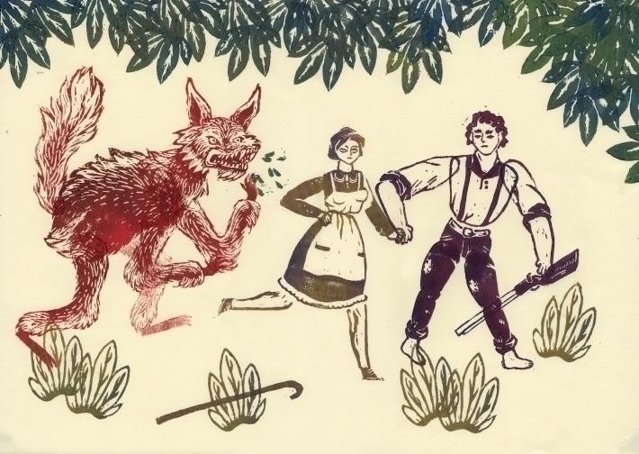 Linocut shop  - print, art, wolf - skeenep | ello