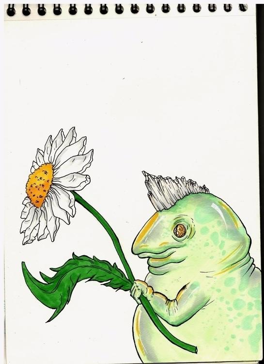 Spring frog - spring, flower, daisy - frida31 | ello
