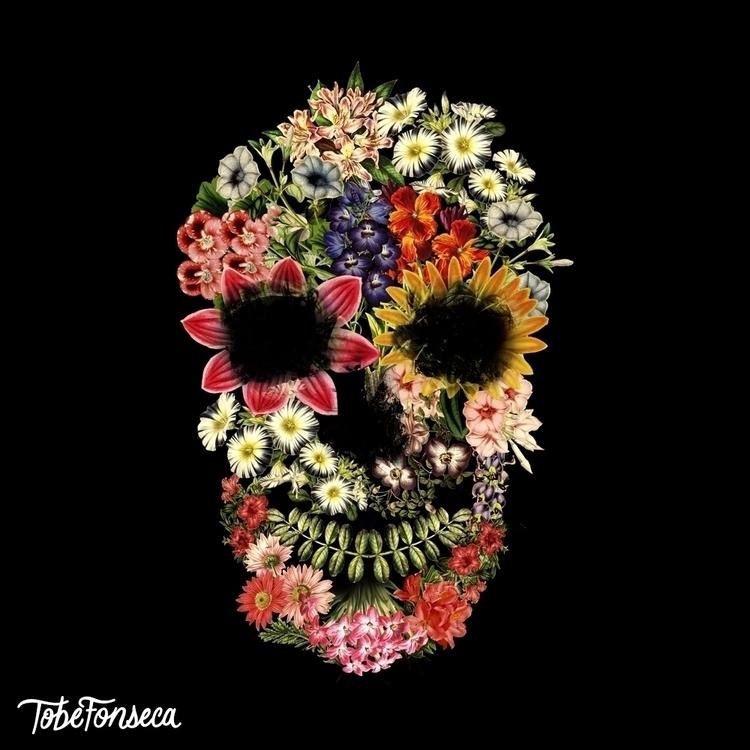 Floral Skull Vintage Black / To - tobefonseca   ello