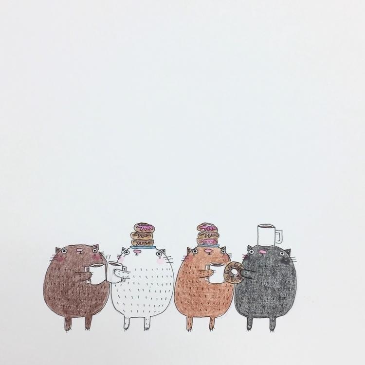 happier donuts - illustration, cats - igimidraws | ello