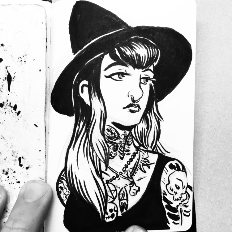 Twitchy witchy girl - witch, ink - royallyeric | ello