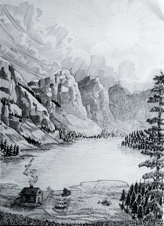 Canadian Landscape. Ink drawing - vytautasart | ello