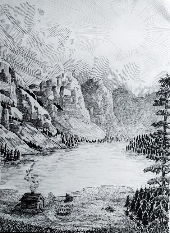 Canadian Landscape. Ink drawing - vytautasart | ello