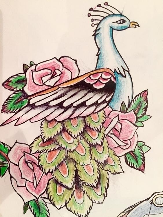 school tattoo drawing - bird, roses - nellie380 | ello