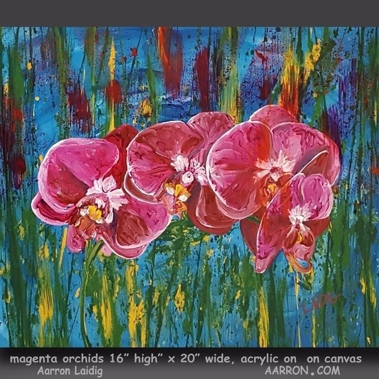 Magenta Orchids painting - acryliconcanvas - aarronl   ello