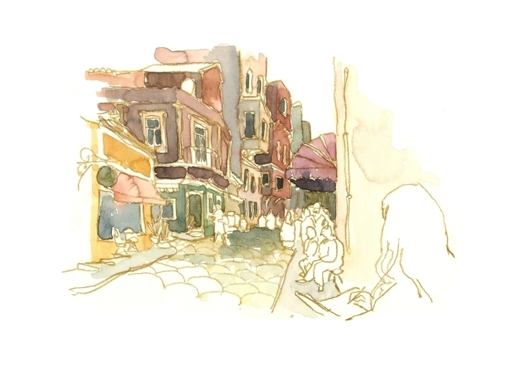 Istanbul Streets - drawing, watercolour - simonrott | ello