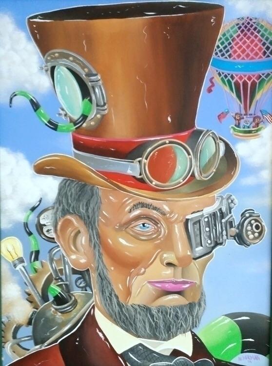 Cyborg Lincoln Acrylic canvas 1 - jasonackerman | ello