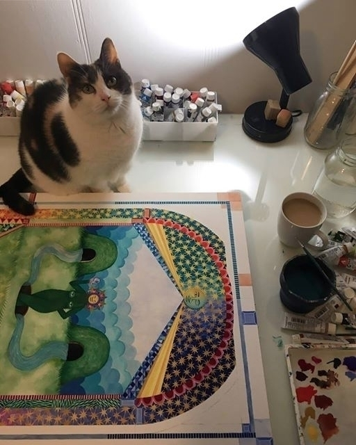Morning desk view - painting, cat - caitlinmcdonagh | ello