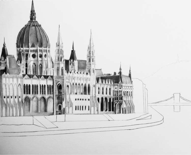 pencil drawing Hungarian Parlia - epdraw   ello