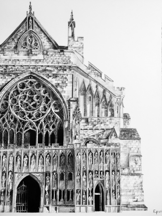 Drawing Exeter Cathedral UK - art - epdraw | ello