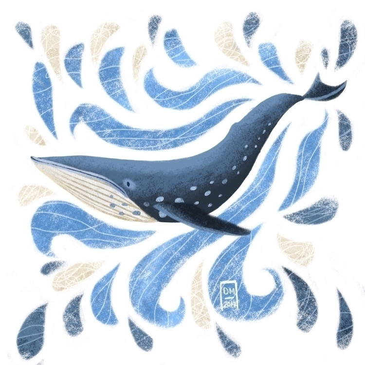 Blue Whale - illustration - doodlesmarc | ello