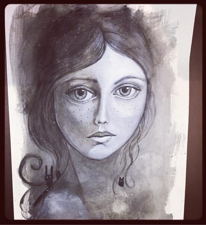 Acrylic paper - art#creative#draw#artoftheday#dreams#portrait#followme#blackandwhite#illustration#love - milena_arietano | ello