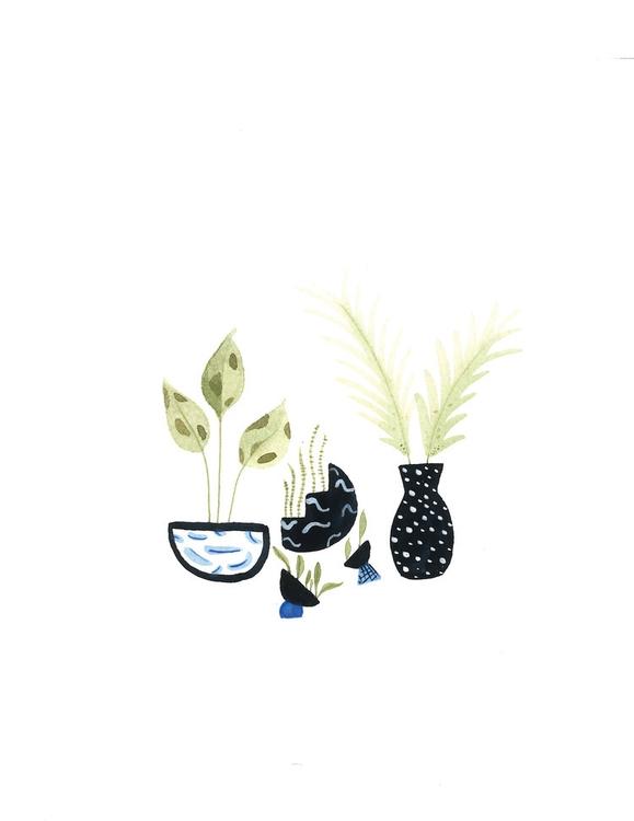 Plant Study Black - watercolor, painting - mitsubishiufjfinancial | ello