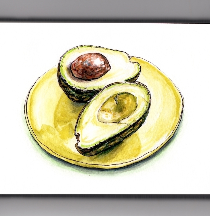 Amazing Avocado - watercolor, watercolour - doodlewash | ello